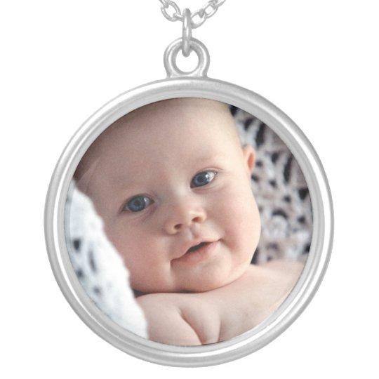 Custom baby photo memento token keepsake jewellery silver plated necklace
