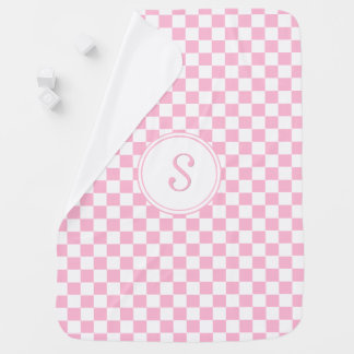 Custom Baby Pink Check Pattern Monogram Ultra Soft Baby Blanket