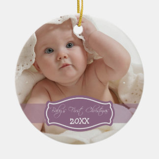 Custom Baby s First Christmas Ornament lilac