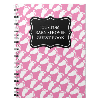 Custom baby shower guest book with footprints notebook