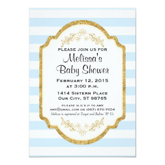 Custom Baby Shower Invitation, Gold, Blue Stripes 13 Cm X 18 Cm Invitation Card