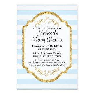 Custom Baby Shower Invitation, Gold, Blue Stripes Card
