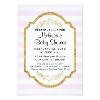 Custom Baby Shower Invitation, Gold, Pink Stripes 13 Cm X 18 Cm Invitation Card