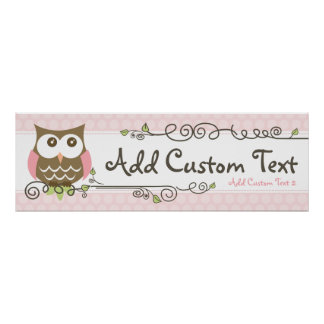 Custom Baby Shower Owl banner Poster