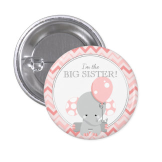 Custom Baby Shower Party I'M THE BIG SISTER 3 Cm Round Badge