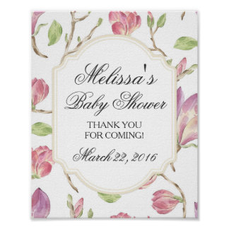 Custom Baby Shower Sign, Watercolor Floral Poster