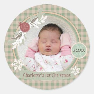 Custom Babys 1st Christmas Rustic Pattern Stickers