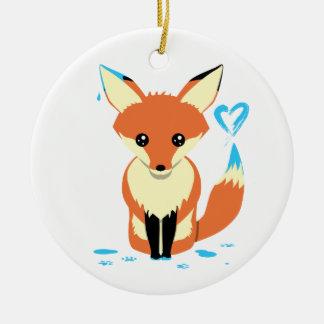 Custom Baby's First Christmas Fox Heart Ornament