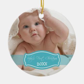 Custom Baby's First Christmas Ornament (aqua)