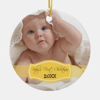 Custom Baby's First Christmas Ornament (lemon)