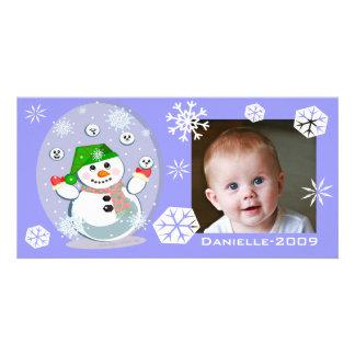 Custom Baby's Snowy Christmas Photo Card