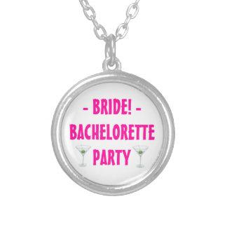 Custom Bachelorette Party Bride Martini Drink Round Pendant Necklace
