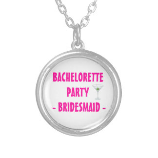 Custom Bachelorette Party Bridesmaid Martini Drink Round Pendant Necklace