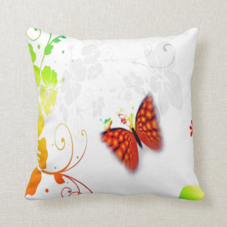 custom background color floral butterfly pillow