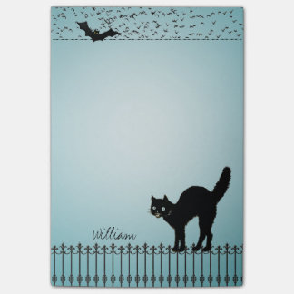 Custom Background Color - Halloween Black Cat Post-it Notes