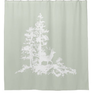 Custom Background Color Stag in Forest Animal art Shower Curtain