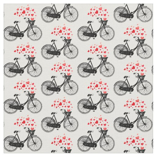 Custom Background Colour Vintage Bike Heart Love Fabric