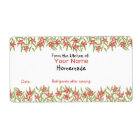 Custom Baking Labels Red Watercolor Flowers From