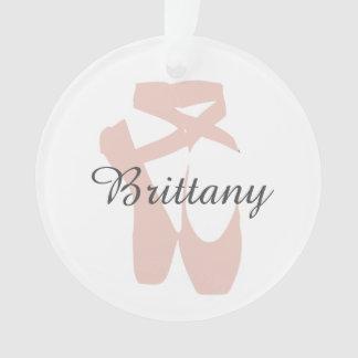 Custom Ballet Slipper Ballerina Dance Center Name Ornament