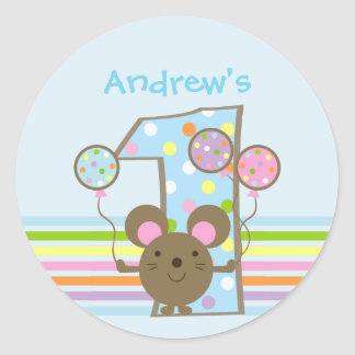 Custom Balloon Mouse Blue 1st Birthday Stickers