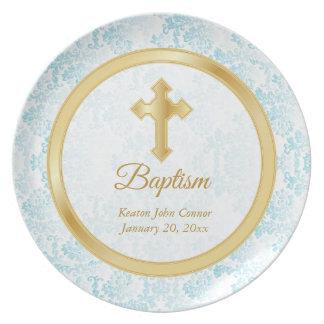 Custom Baptism Keepsake - Blue, White & Gold Plate