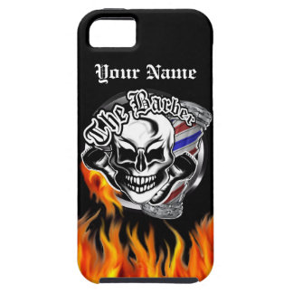 Custom Barber Skull with Flaming Razor Case For The iPhone 5