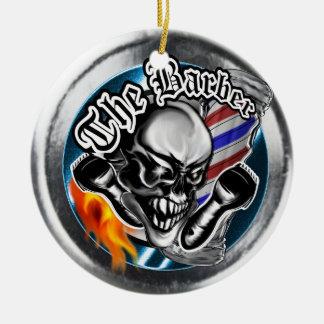 Custom Barber Skull with Flaming Razor Christmas Ornament