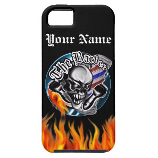 Custom Barber Skull with Flaming Razor iPhone 5 Case