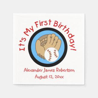 Custom Baseball 1st Birthday Paper Napkins
