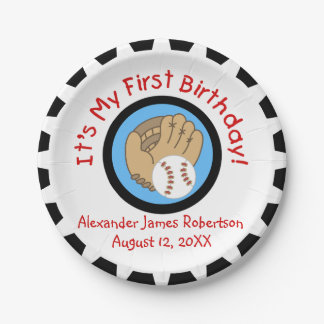 Custom Baseball 1st Birthday Paper Plates 7 Inch Paper Plate