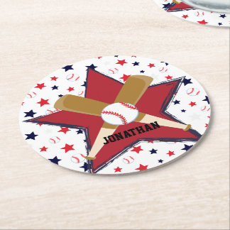 Custom Baseball Bats Balls and Stars on White Round Paper Coaster