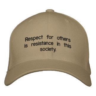 Custom Baseball Cap saying respect is resistance.