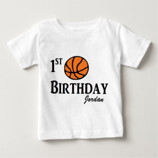 Custom Basketball First birthday shirt 1 year