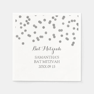 Custom Bat Mitzvah Napkin Mint Silver Confetti Disposable Serviettes