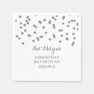 Custom Bat Mitzvah Napkin Mint Silver Confetti Paper Napkin