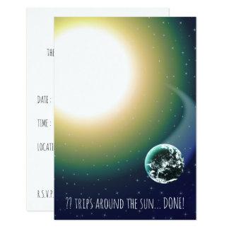 Custom Bday Trips Around the Sun 9 Cm X 13 Cm Invitation Card