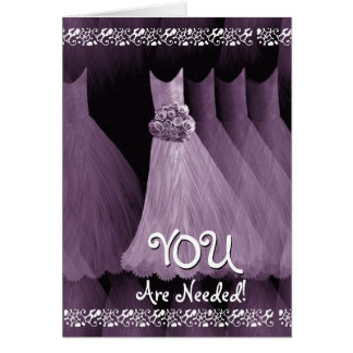 Custom Be My MATRON OF HONOUR PURPLE Gowns Card