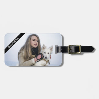 Custom Beach Dog and Girl  Photo template Luggage Tag