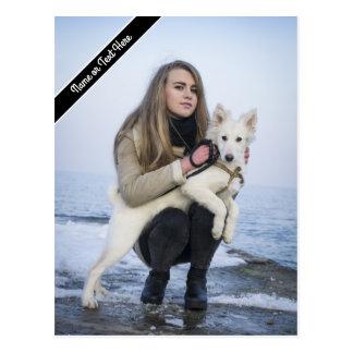 Custom Beach Dog and Girl  Photo template Postcard