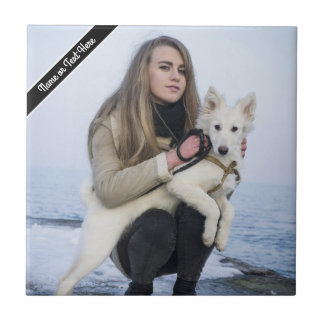 Custom Beach Dog and Girl  Photo template Small Square Tile