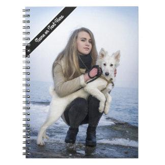 Custom Beach Dog and Girl  Photo template Spiral Notebook