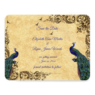 Custom,Beautiful Vintage Peacocks, Save the Date, Card