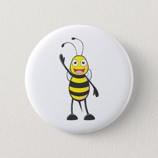 Custom Bee Waving His Hand 6 Cm Round
