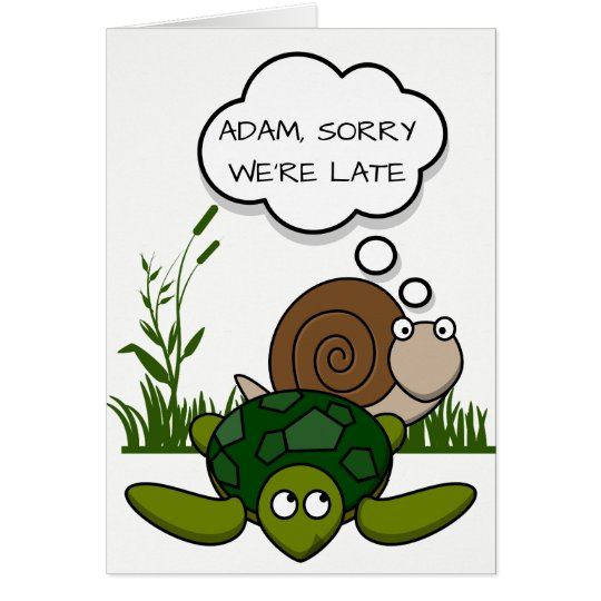 Custom Belated Birthday Card: Snail and Turtle Card