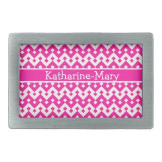 Custom Belt Buckle, Candy Pink Geometric Belt Buckle