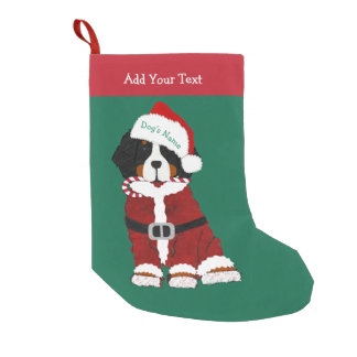Custom Bernese Mountain Dog Santa Paws Small Christmas Stocking