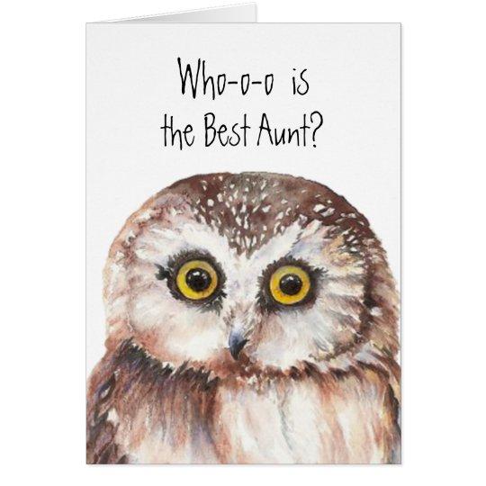 Custom Best Aunt Cute Owl Humour Card