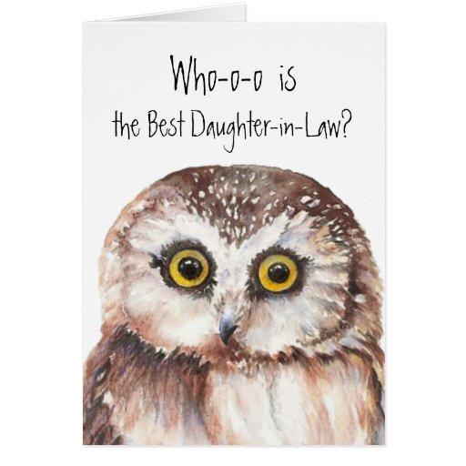 Custom Best Daughter -in-Law Cute Owl Humor Greeting Cards