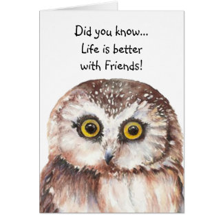 Custom Best Friend Birthday with Cute Owl Humor Greeting Card