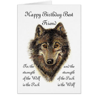 Custom Best Friend Birthday -Wolf and Pack Quote Card